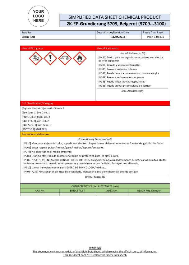 SDS DRIVE Solution: Example of automatically generated simplified Safety Data Sheet (SDS)